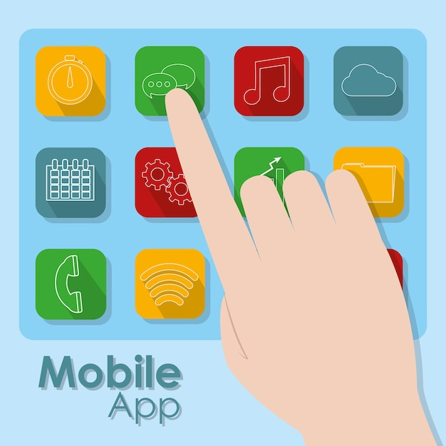 Hand Touching Mobile App Symbols Vector Premium Download
