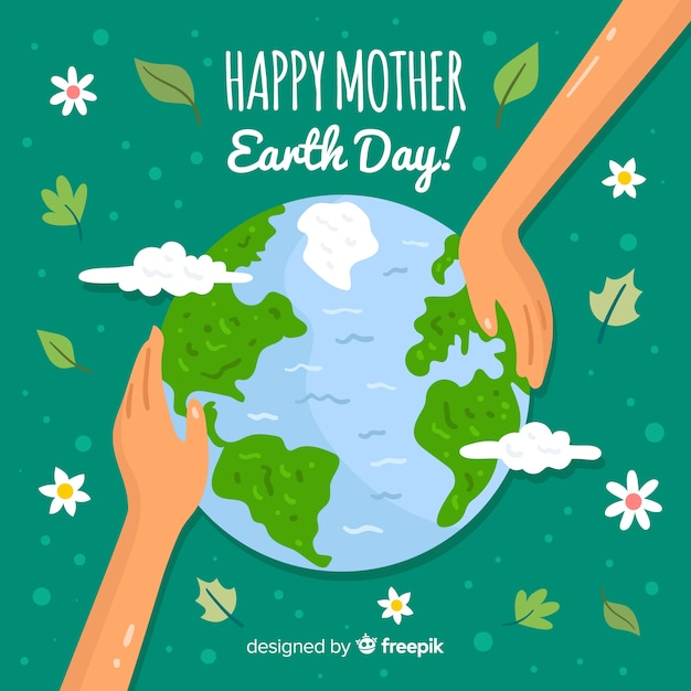 Hand touching planet mother earth day background Free Vector