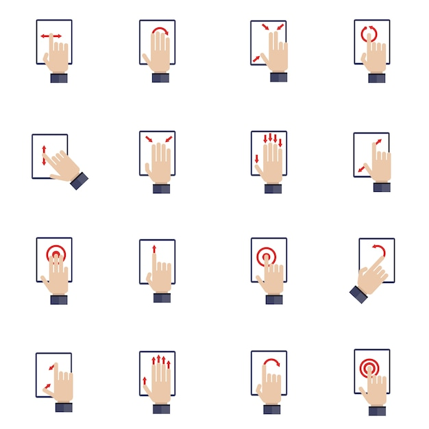 Hand touching screen of mobile device tablet flat icons set Free Vector