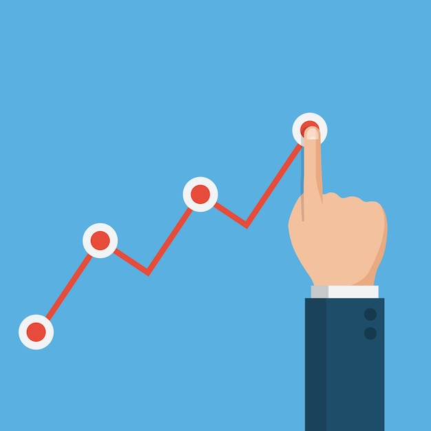 Hand touching up holding chart arrow, financial growth graph Premium Vector