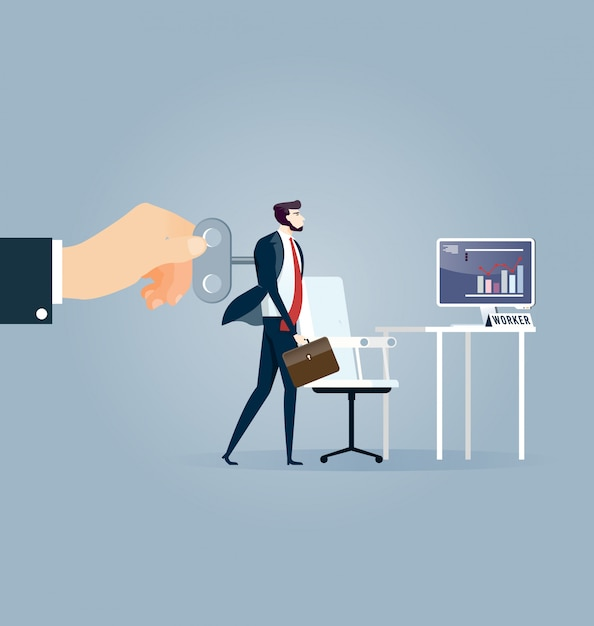 Hand turning winder on business person's back Premium Vector