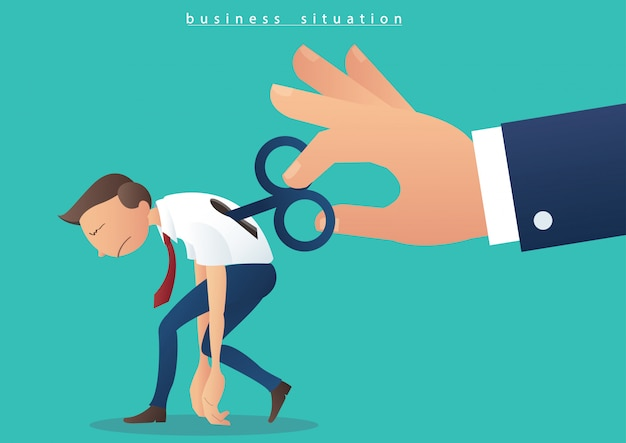 Hand turning winder on businessman Premium Vector