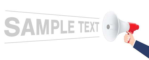 Hand using megaphone with sample text Premium Vector