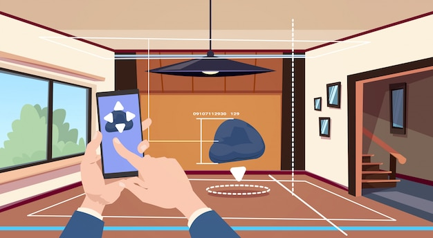 Hand using smart home app of control system over living room background, technology of house automation concept Premium Vector