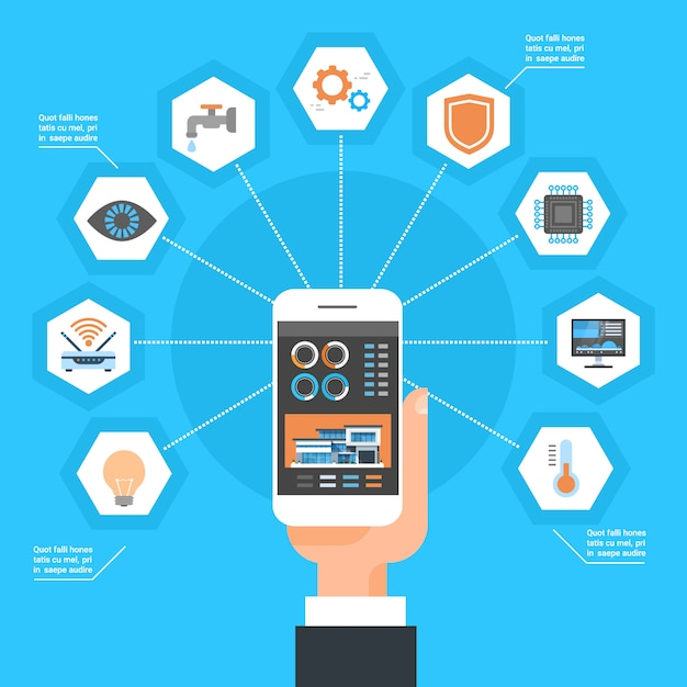Hand using smart home control system on smartphone house monitoring automation concept Premium Vector