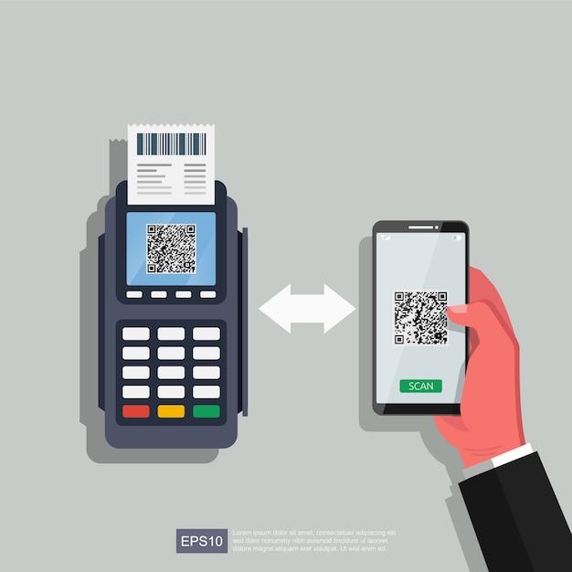 Рука, используя смартфон и телефон с иллюстрацией qr кода сканирования. технологии для бизнеса. Premium векторы