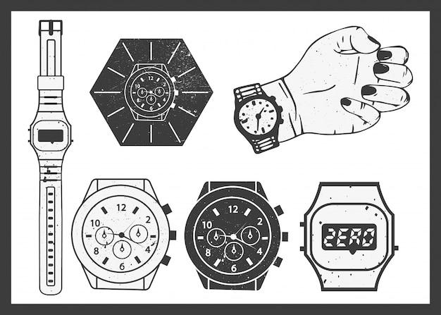Hand watches vector set Premium Vector