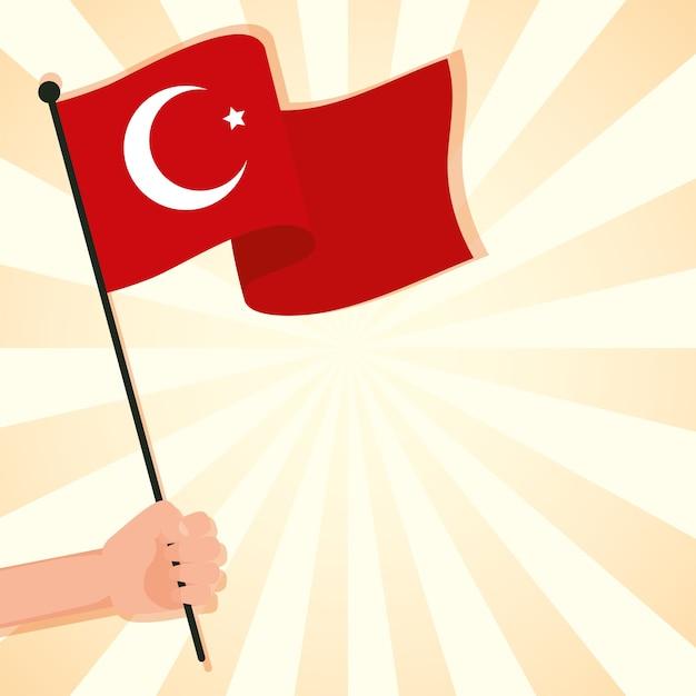 Рука машет флаг турции страны изолированные Premium векторы