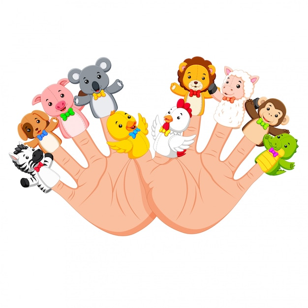 Hand wearing 10 finger animal puppet that are really funny Premium Vector