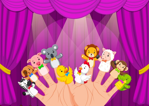 Hand wearing 10 finger puppets in the stage Premium Vector