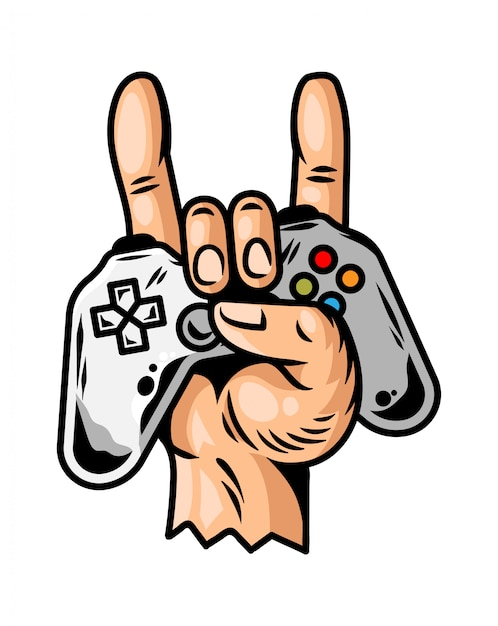 Hand which keep modern gamepad joystick game controller for play video game and show rock sign cool game forever. Premium Vector