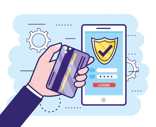 Hand wiith credit card and smartphone with finance password Premium Vector