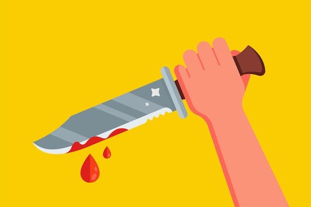 피 묻은 칼로 손을. 프리미엄 벡터