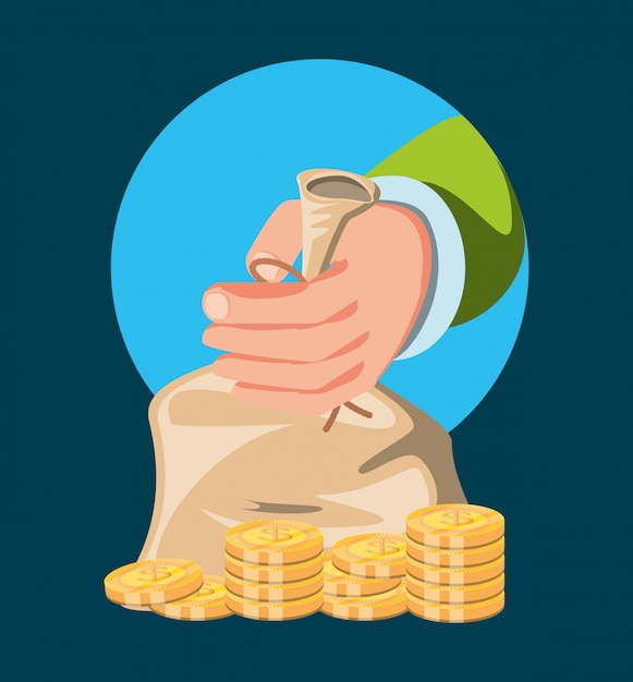 Hand with bag of money Premium Vector