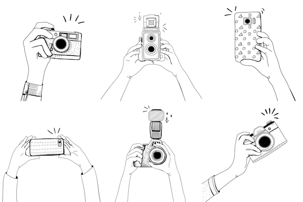 Hand with camera set Free Vector