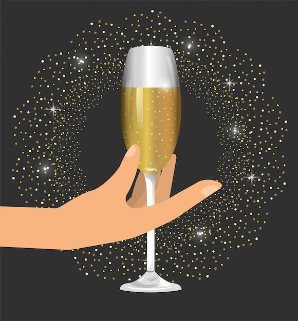 Рука с бокалом шампанского, чтобы отпраздновать новый год Premium векторы