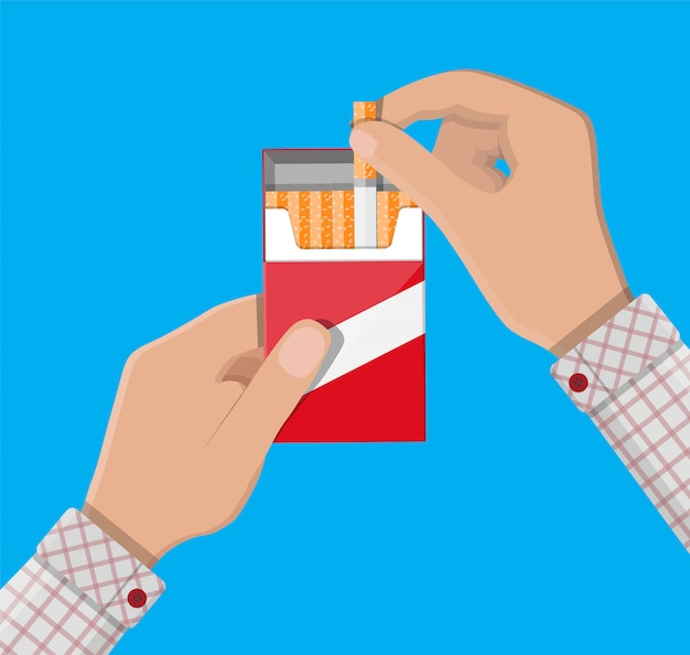 Hand with cigarette package Premium Vector