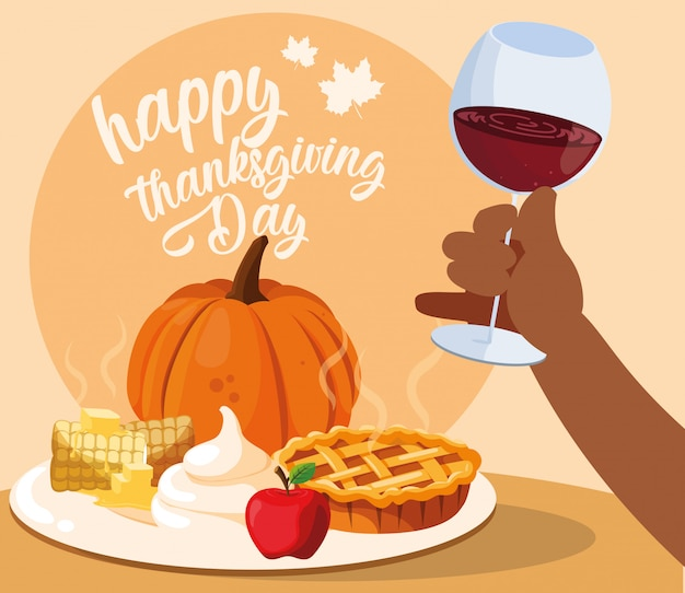 Hand with cup wine and food of thanksgiving Premium Vector