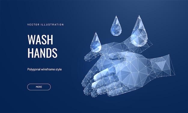 Рука с дезинфицирующим средством иллюстрации. Premium векторы