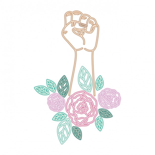 Hand with flower avatar character Premium Vector