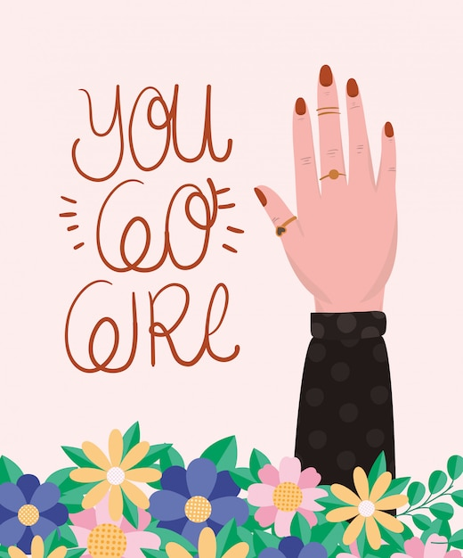 Hand with flowers and leaves of women empowerment vector Premium Vector