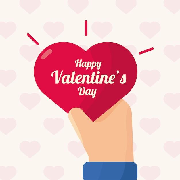 Рука с сердцем любовь день святого валентина в образце сердца Premium векторы