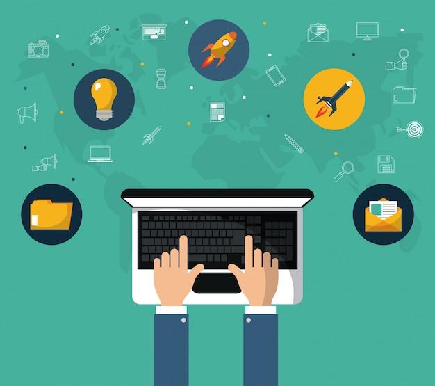 Hand with laptop online marketing website tool Premium Vector