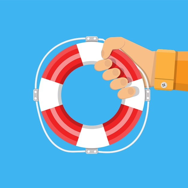 Hand with lifebuoy. support and assistance Premium Vector