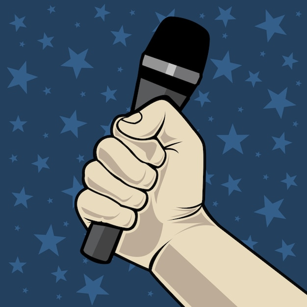 Hand with microphone. on a blue background with stars. Premium Vector