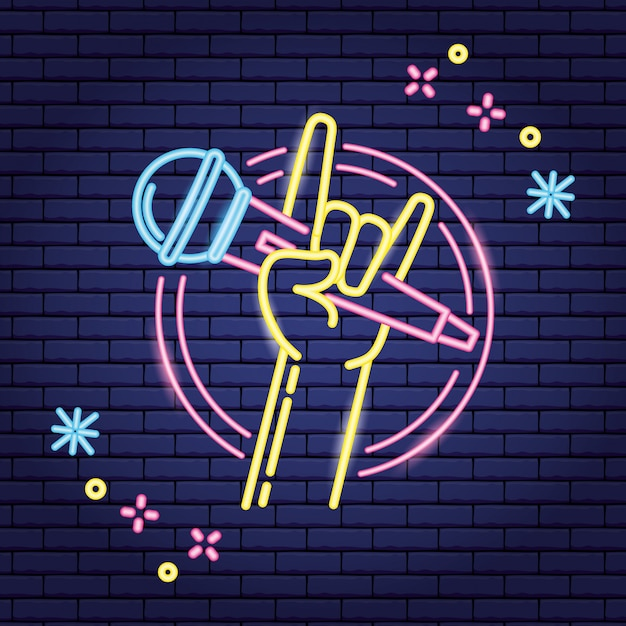 Hand with microphone in neon style, karaoke Free Vector