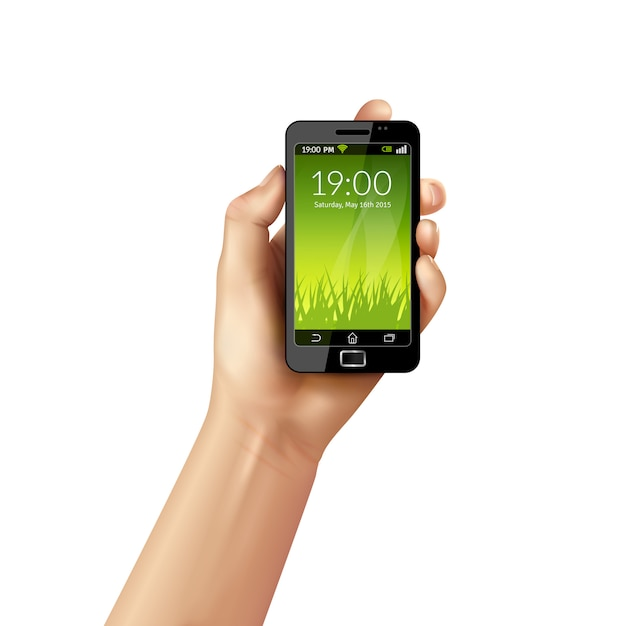 Hand with mobile phone Free Vector