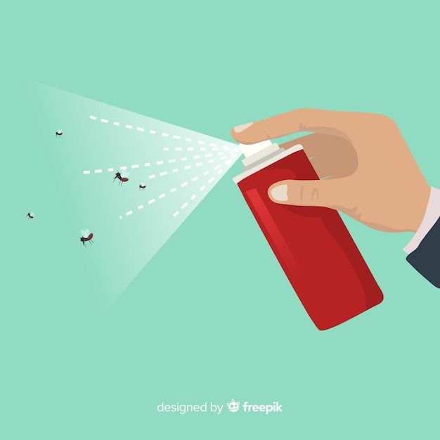 Hand with mosquito spray Free Vector