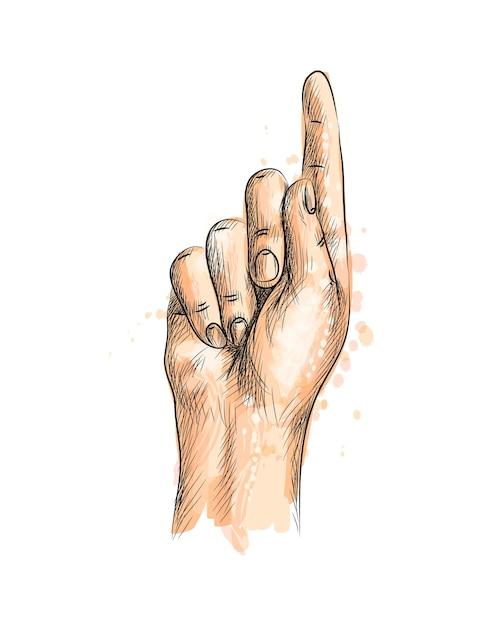 수채화의 스플래시에서 한 손가락으로 손으로 그린 스케치. 그림 물감 프리미엄 벡터