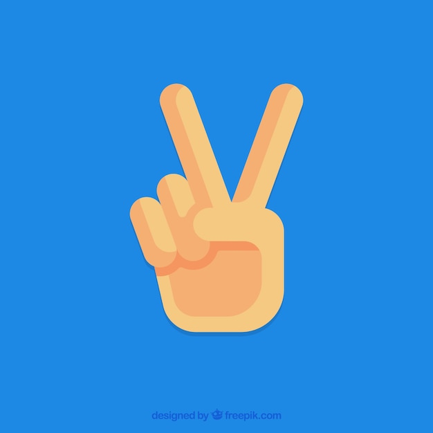 Hand With Peace Sign Vector Free Download
