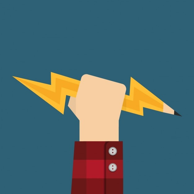 Hand with a pencil with lightning shape Free Vector