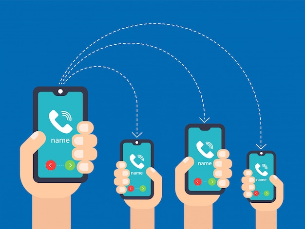 Hand with the phone. call to multiple smartphones. flat vector illustration Premium Vector