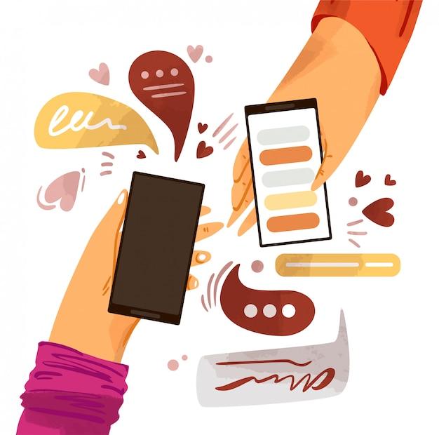 전화 만화 일러스트와 함께 손입니다. 메신저, 온라인 채팅, 같은 소셜 참여와 스마트 폰 절연 프리미엄 벡터