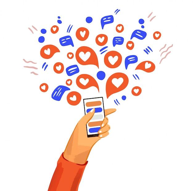 전화 만화 일러스트와 함께 손입니다. 메신저, 온라인 채팅, 메시지 표시, 아이콘 및 소셜 참여가있는 스마트 폰. 행복하고 친근한 의사 소통 프리미엄 벡터