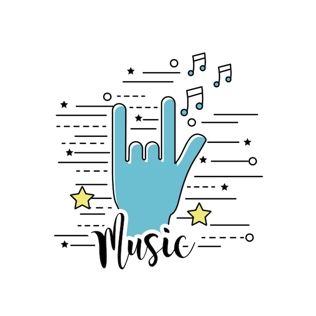 Hand With Rock Symbol And Musical Signals Vector Premium Download