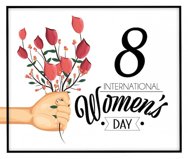 Hand with roses plants to womens day celebration Premium Vector
