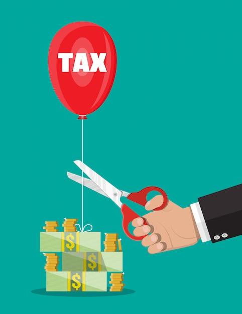 税バルーン文字列を切るはさみを持つ手 Premiumベクター