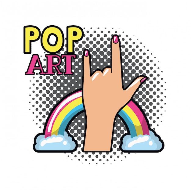 Hand with sign rock pop art Premium Vector
