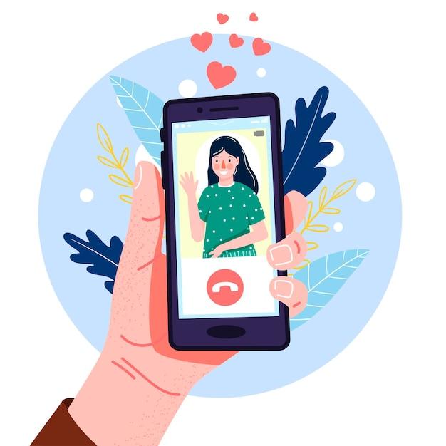 현대 평면 스타일의 스마트 폰으로 손. 손 그리기. 삽화. 영상 통화. 소셜 네트워크, 커뮤니케이션. 디자인을 위해. 프리미엄 벡터
