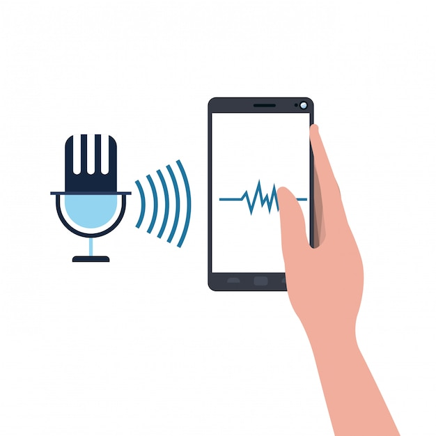 Hand with smartphone and voice assistant Premium Vector