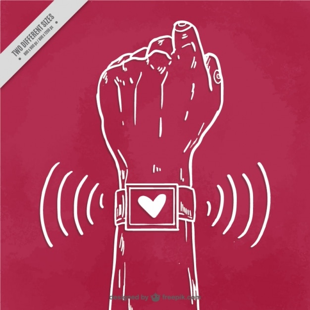 Hand with smartwatch background Free Vector
