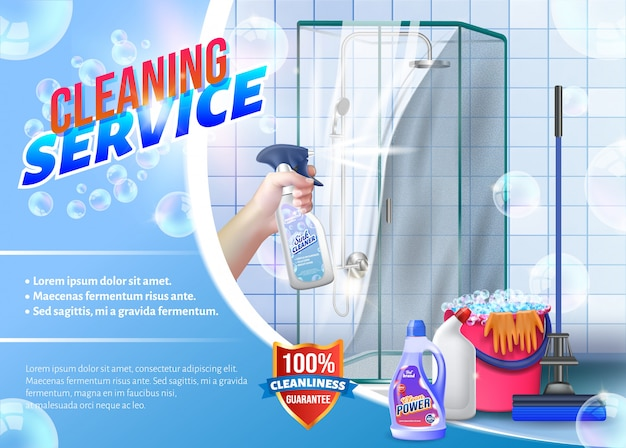Hand with spray glass in hand on shower Premium Vector