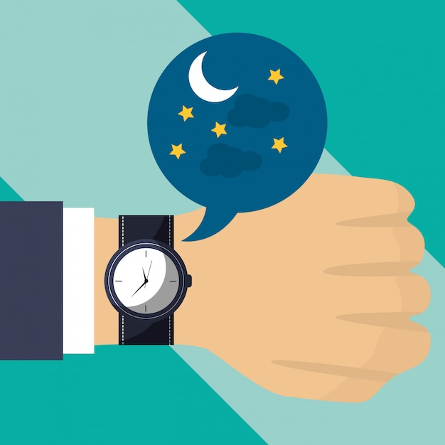 Hand with wrist watch time night Premium Vector