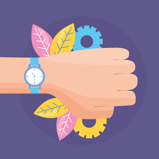 Hand with wristwatch Free Vector