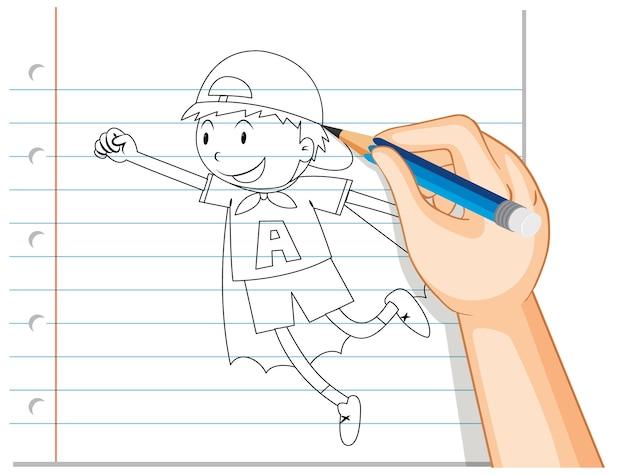 Scrittura della mano del ragazzo che agisce come contorno di eroe Vettore gratuito