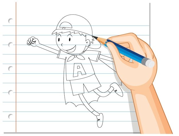 Hand writing of boy acting like hero outline Free Vector